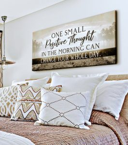 ONE SMALL POSITIVE THOUGHT BROWNNEUTRAL CLASSYBEDROOMMOCK X